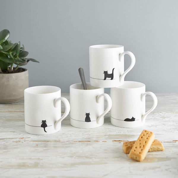 Cat Mugs, Set of Four