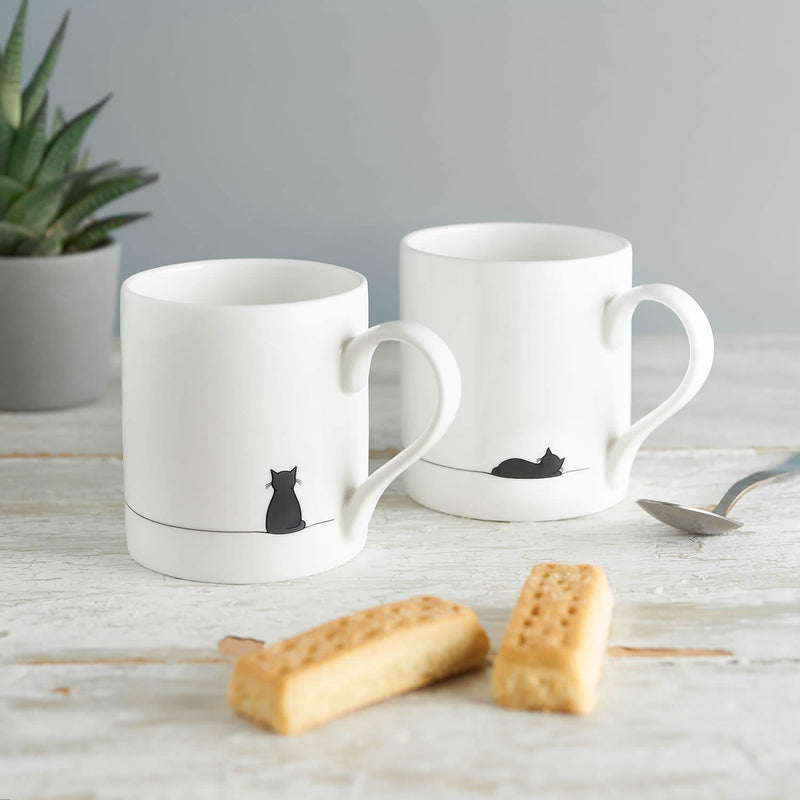 Cat Mugs, Set of Two, Sitting Cat and Sleeping Cat