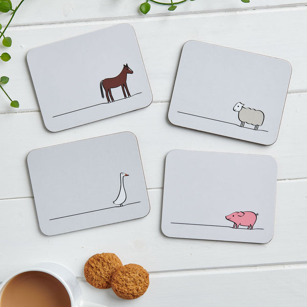 Farm Collection Coasters, Mixed Set of Four
