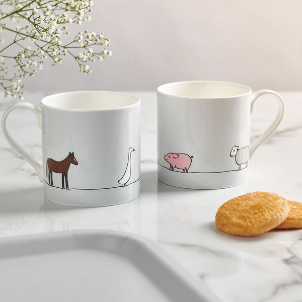 Farm Collection Large Mugs with Biscuits