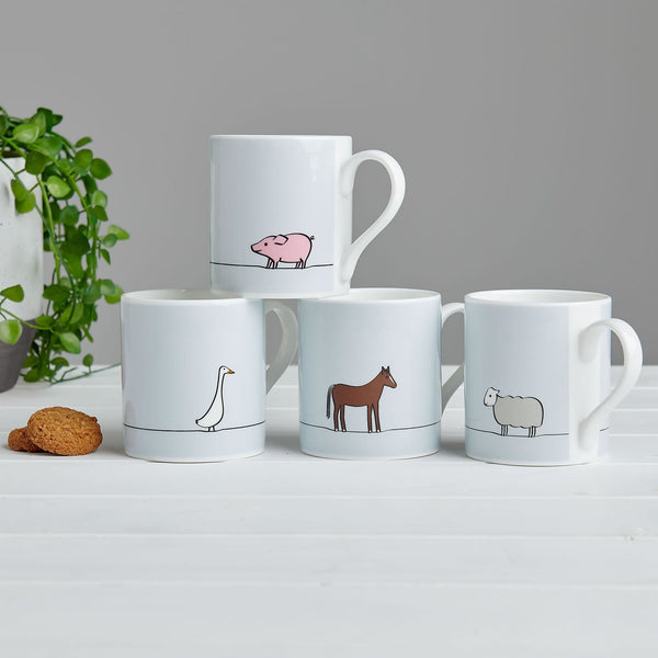 Farm Collection Mugs, Set of Four
