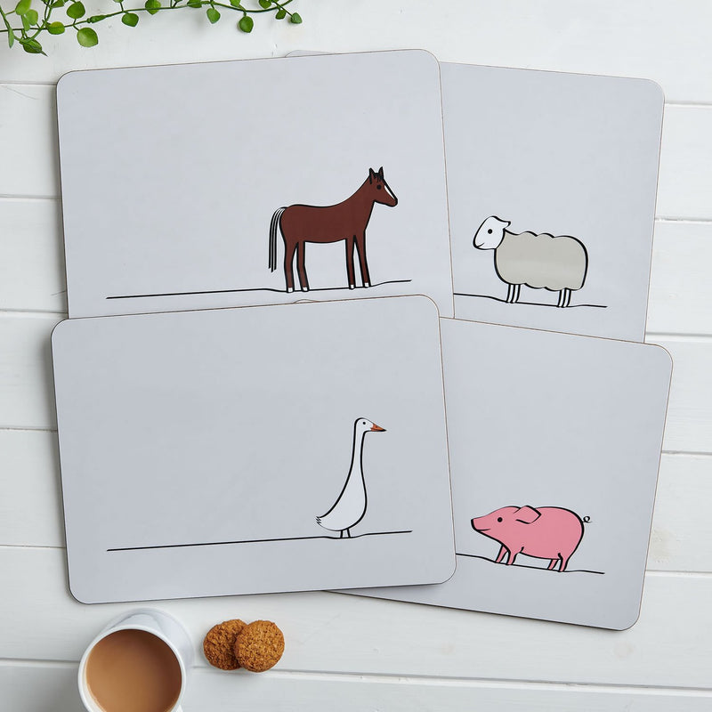 Farm Collection Placemats, Mixed Set of Four