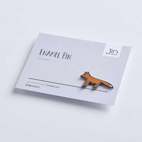 Fox Enamel Pin with Backing Card