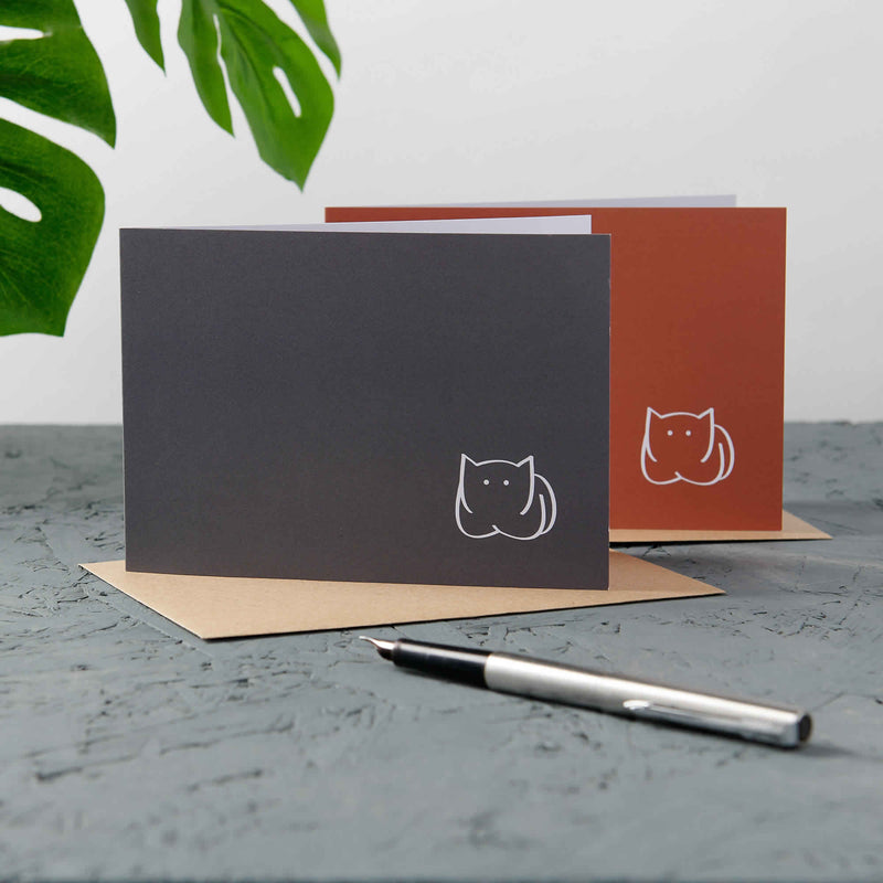 CatLoaf Cards, 2 Dark Grey and 2 Orange