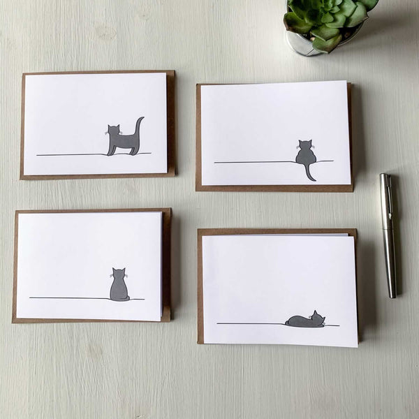 Cat Cards, Mixed Pack of Four