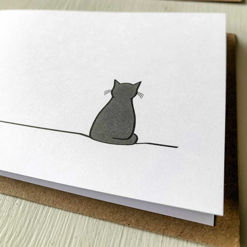Sitting Cat Card, Close up