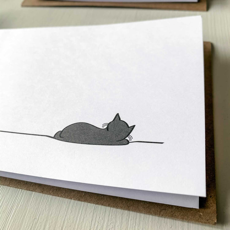Sleeping Cat Card, Close up
