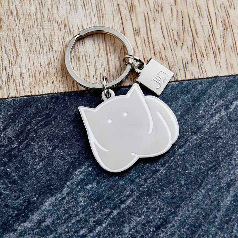 CatLoaf Silver Keyring with Enamel outline