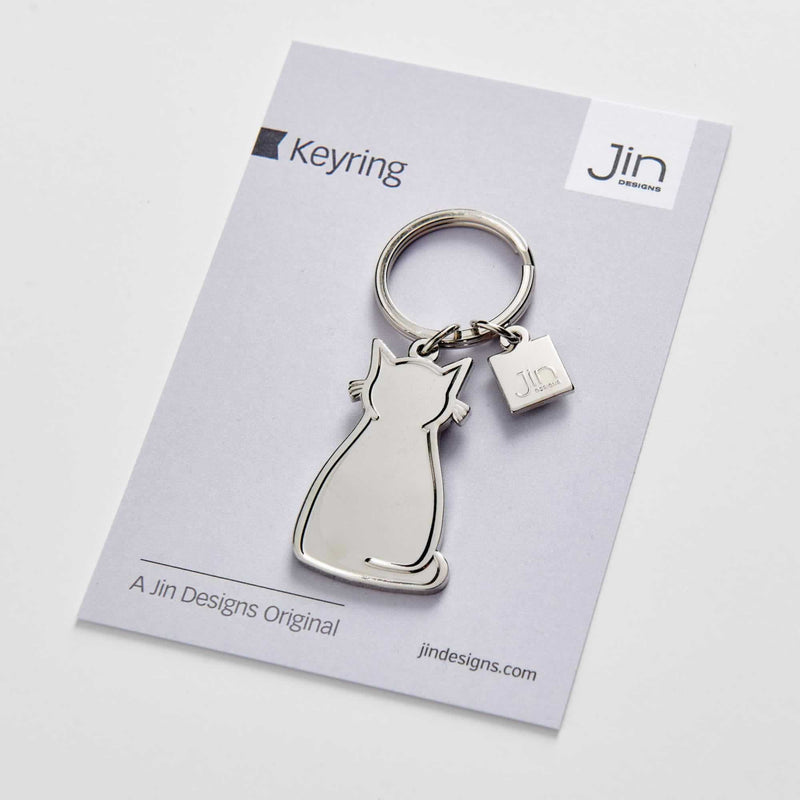 Sitting Cat Silver Keyring with Backing Card