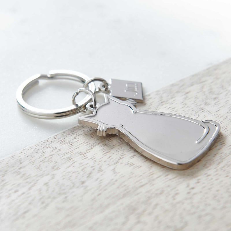 Sitting Cat Silver Keyring Close up