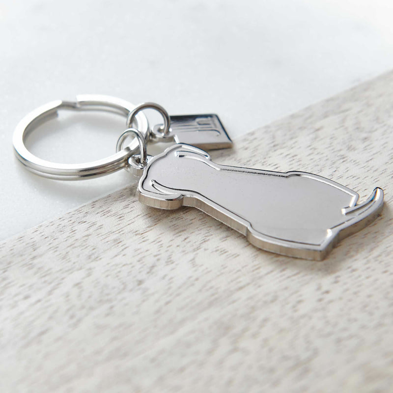 Sitting Dog Silver Keyring Close up