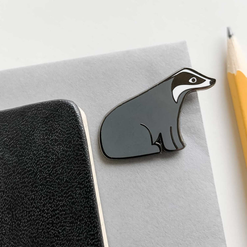 Badger Enamel Pin with Pencil