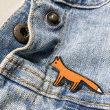 Fox Enamel Pin on Denim