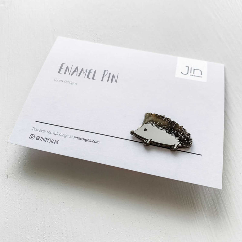 Hedgehog Enamel Pin with Backing Card