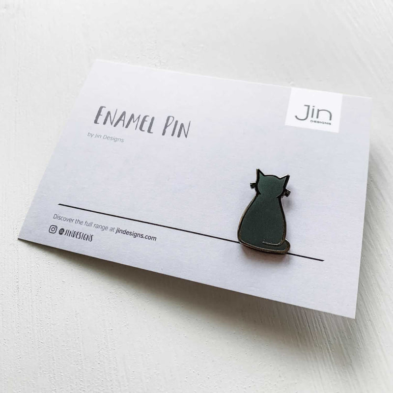 Sitting Cat Enamel Pin with Backing Card