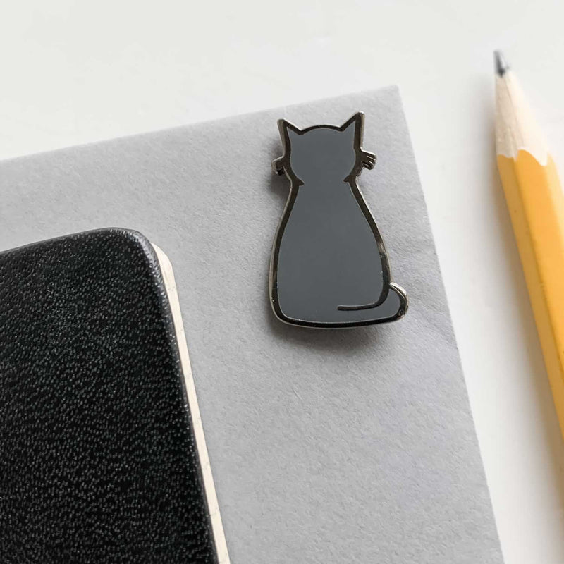 Sitting Cat Enamel Pin with Pencil