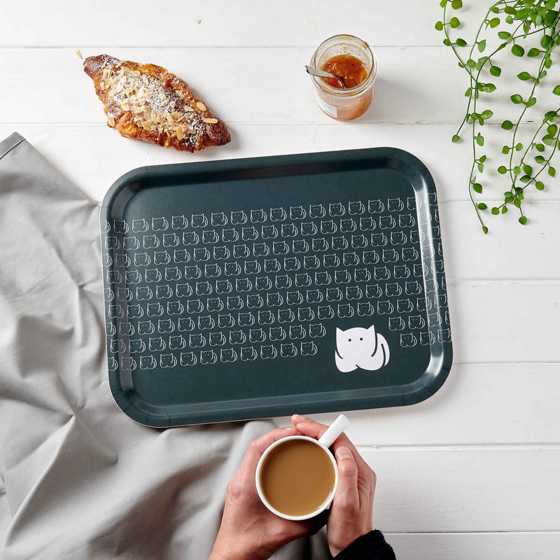 CatLoaf Birch Wood Tray with breakfast and coffee
