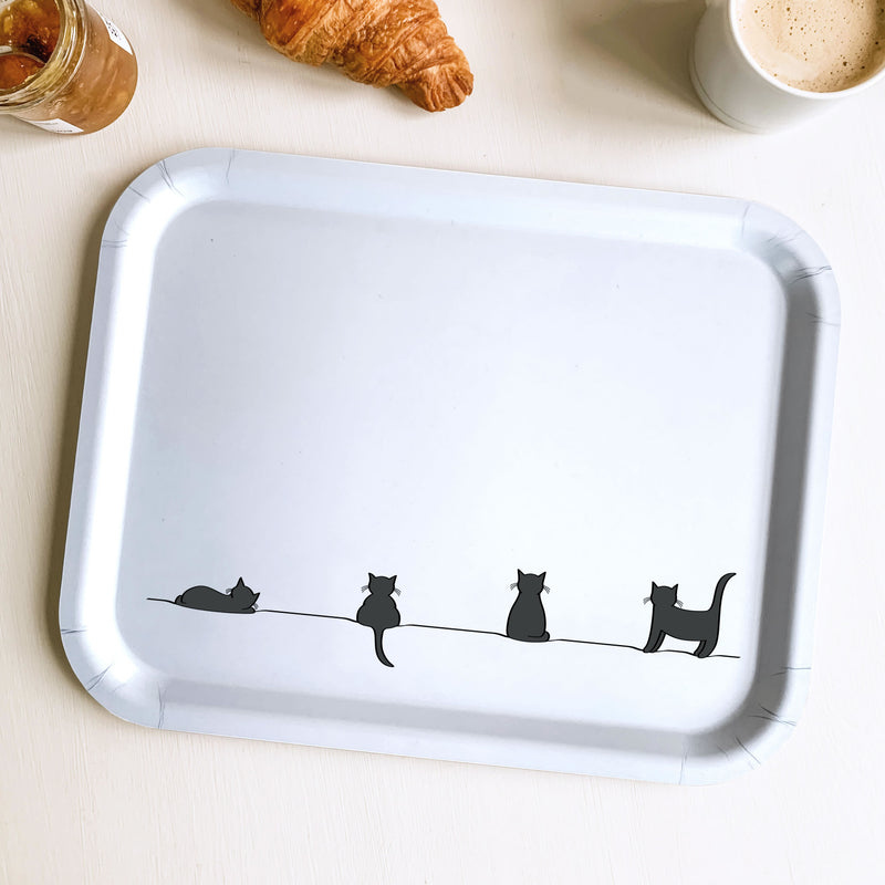 Cat Collection Birch Wood Tray with Breakfast