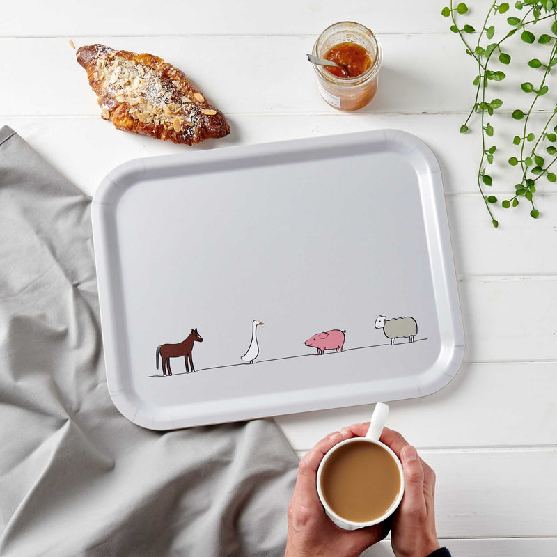 Farm Collection Birch Wood Tray with Breakfast