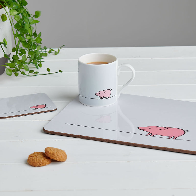 The Pig Collection featuring mug, placemat and coasters