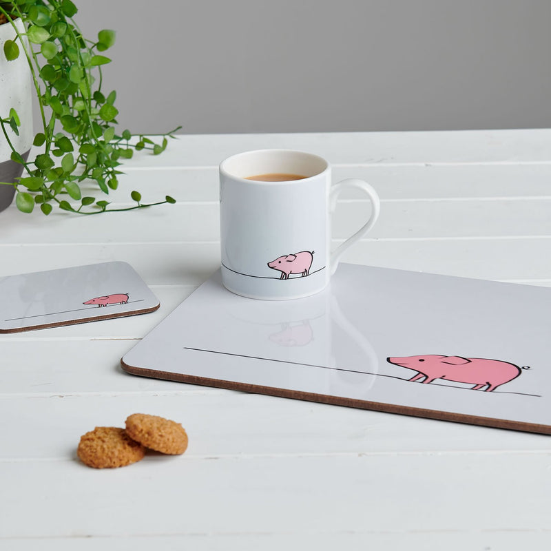 Pig Placemat with Mug and Coaster