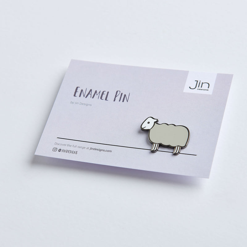 Sheep Enamel Pin with Backing Card