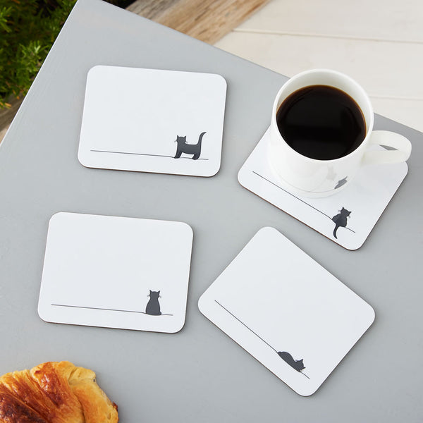 Cat Coasters in Action, Set of Four