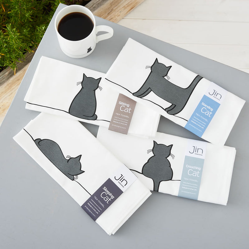 Cat Tea Towels, Set of Four