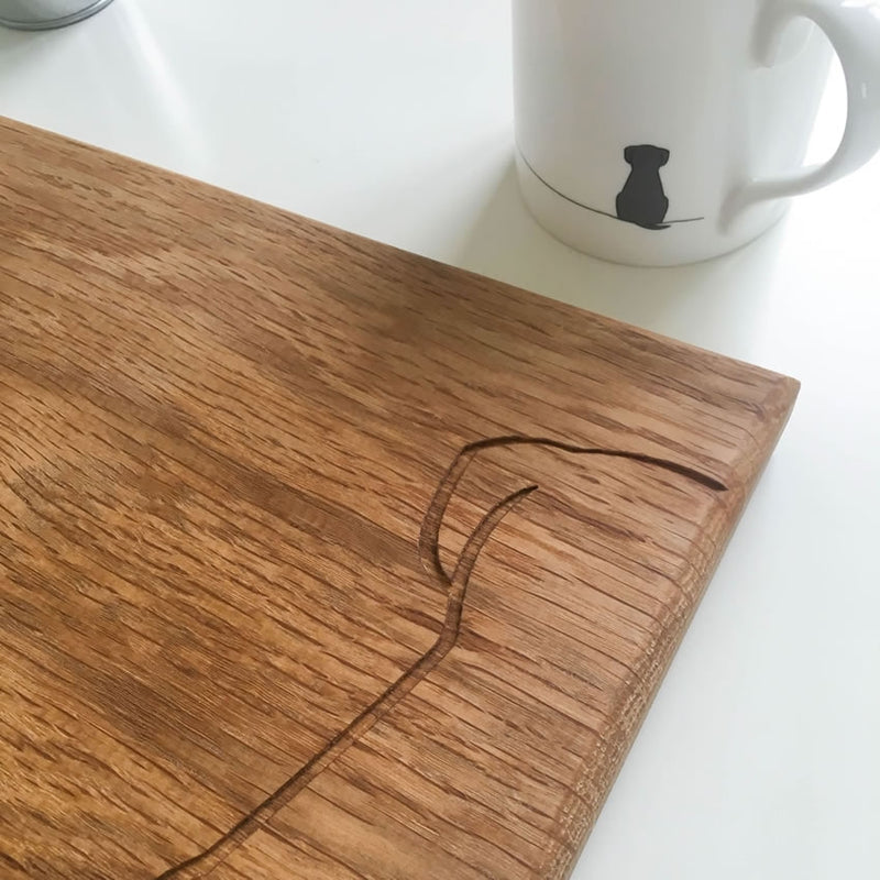 Sitting Dog Chopping Board with Mug