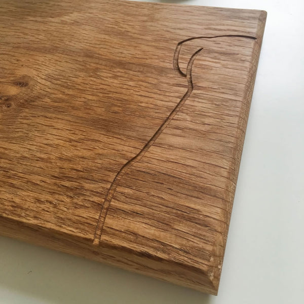 Sitting Dog Chopping Board Close Up