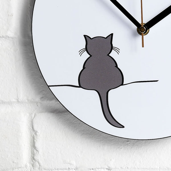 Crouching Cat Wall Clock closeup