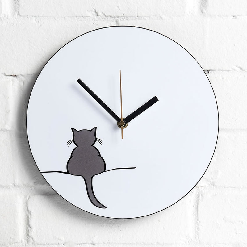 Crouching Cat Wall Clock on kitchen wall