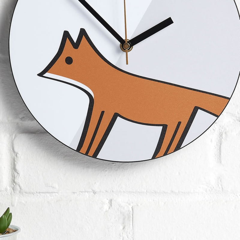 Fox Wall Clock closeup