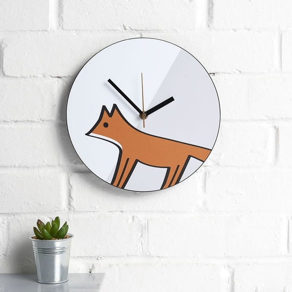 Fox Wall Clock with Plant, on a Kitchen Wall