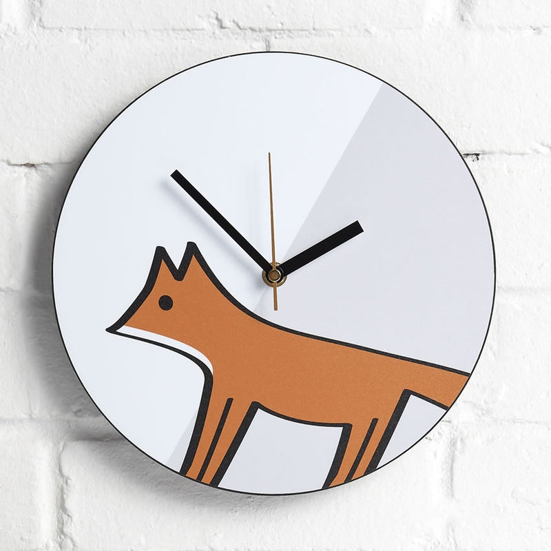 Fox Wall Clock on an Interior Wall