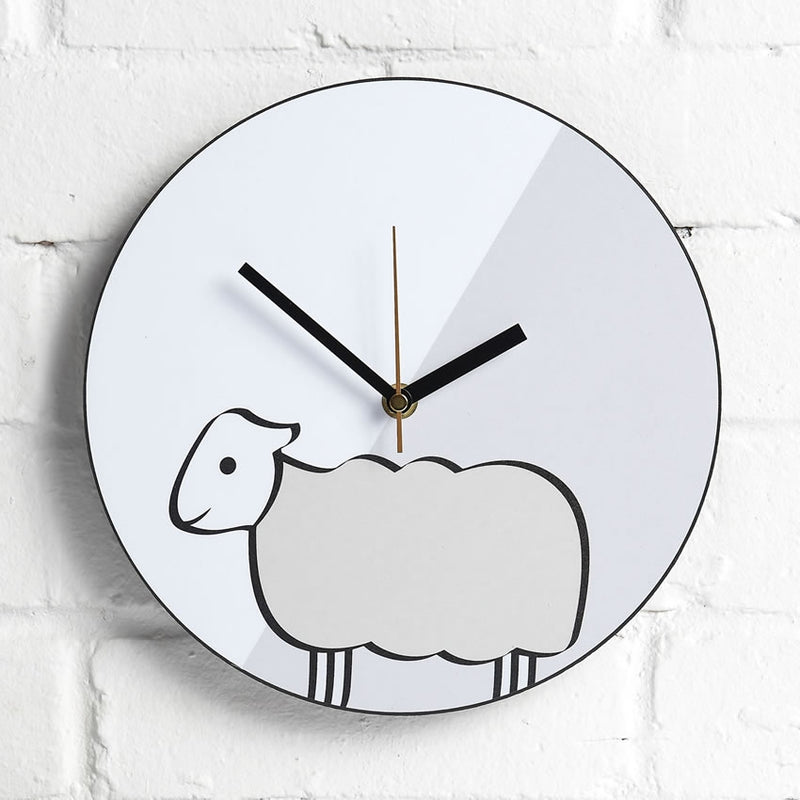 Modern Sheep Wall Clock on interior wall