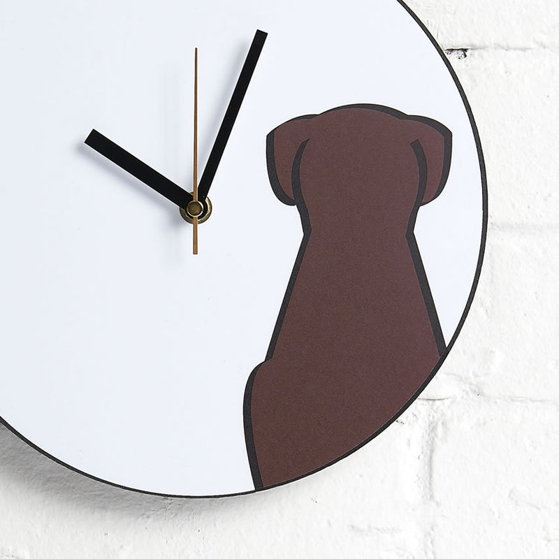 Sitting Dog Wall Clock closeup