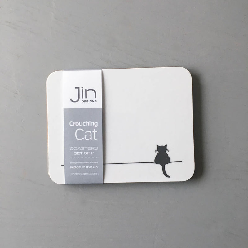 Crouching Cat Coasters, Set of 2
