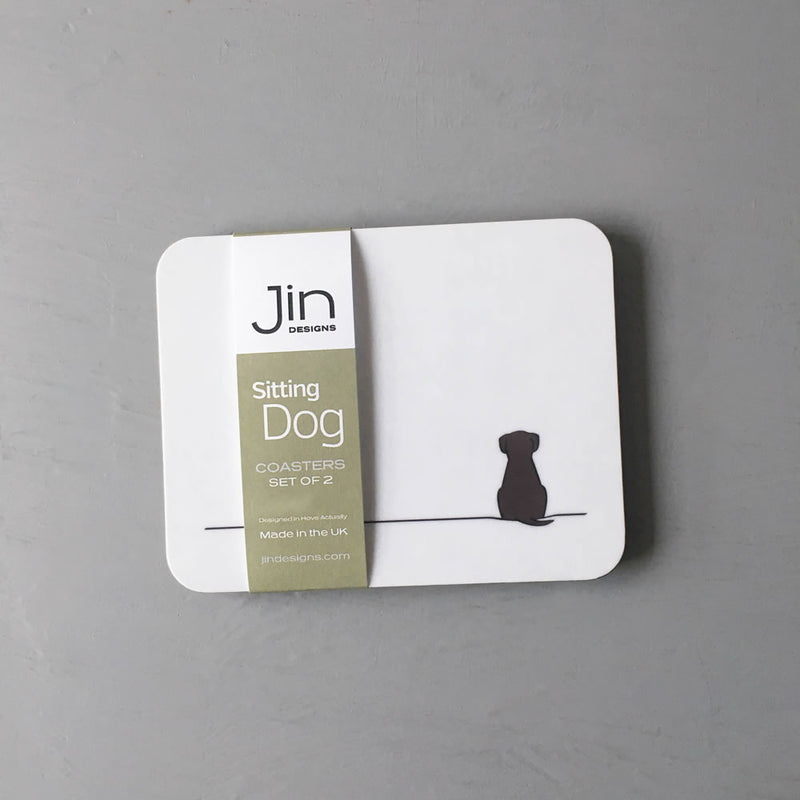 Sitting Dog Coasters, Set of 2