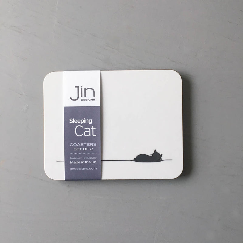 Sleeping Cat Coasters, Set of 2