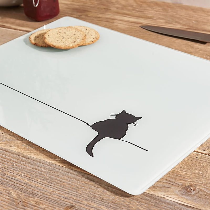 Crouching Cat Glass Chopping Board