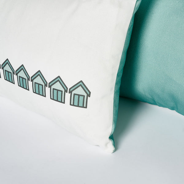 Beach Huts Cushion Close-up