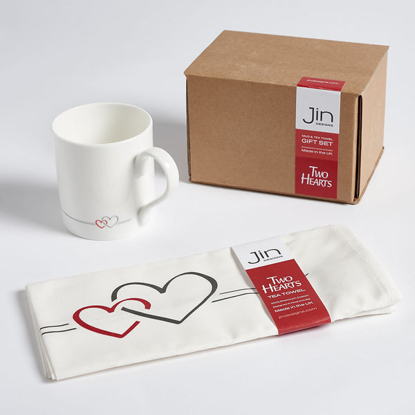 Two Hearts Mug and Tea Towel Gift Set