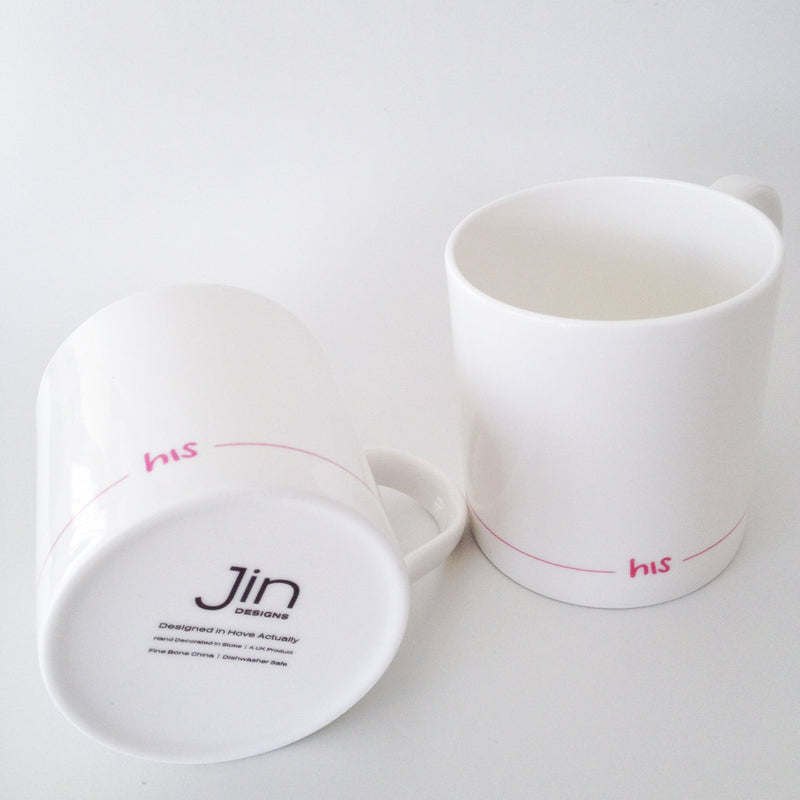 His and His Mugs with Backstamp