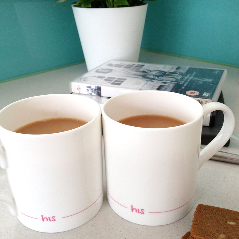 His and His Mugs with Biscuits