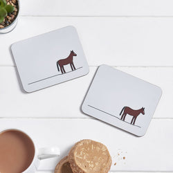 Horse Coasters with Tea and Biscuits