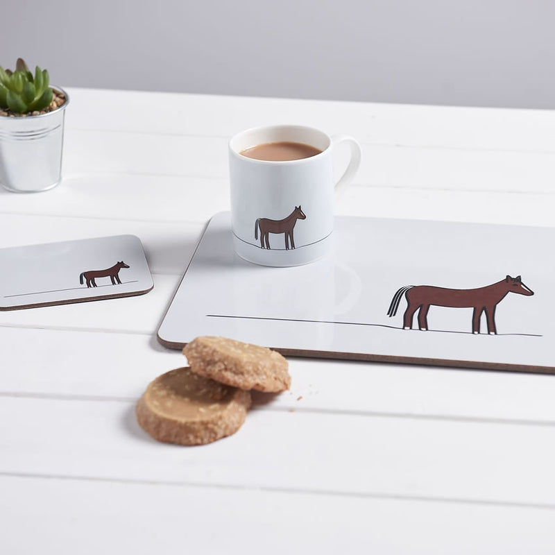 Horse Coasters shown with Placemat and Mug and Biscuits