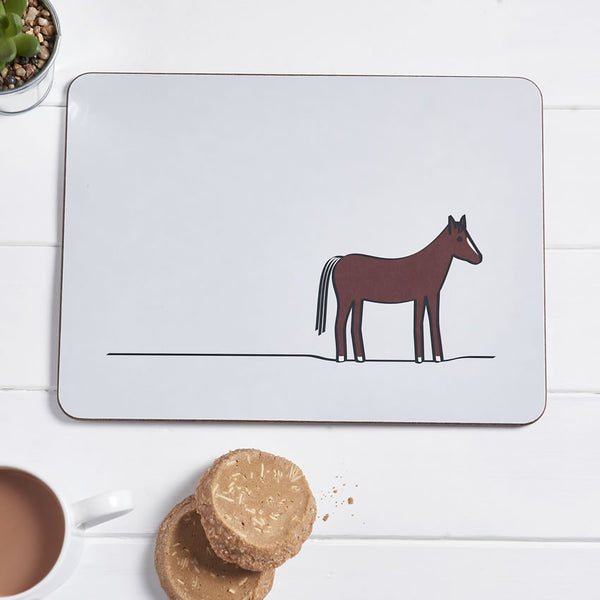 Horse Placemat with Tea and Biscuits