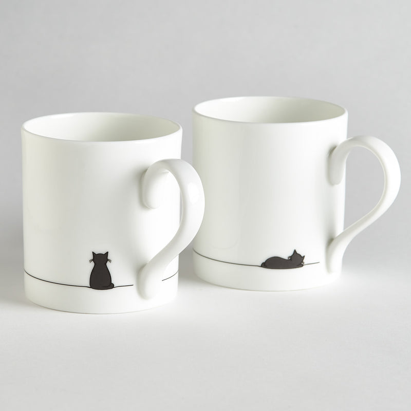 Sitting Cat and Sleeping Cat Mug - Set of 2