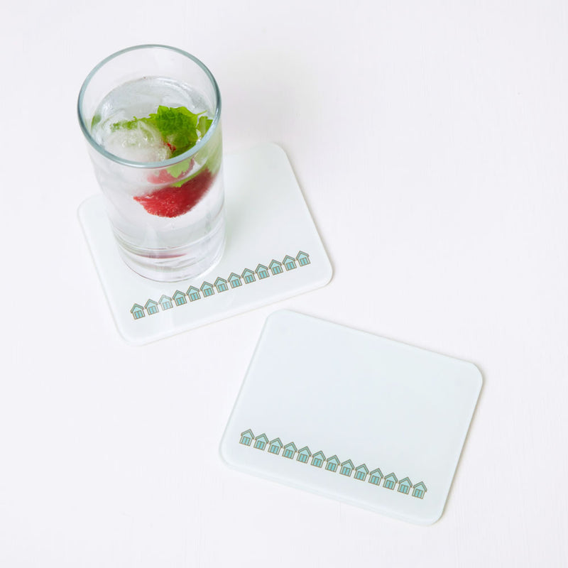 Beach Huts Coaster Set with Long Drink